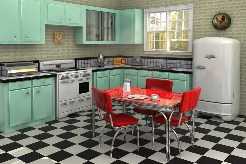 Интерьер кухни в стиле ретро фото