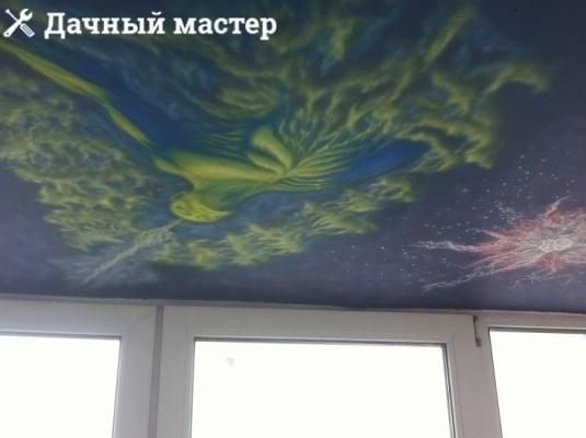 Рисунок на потолке балкона