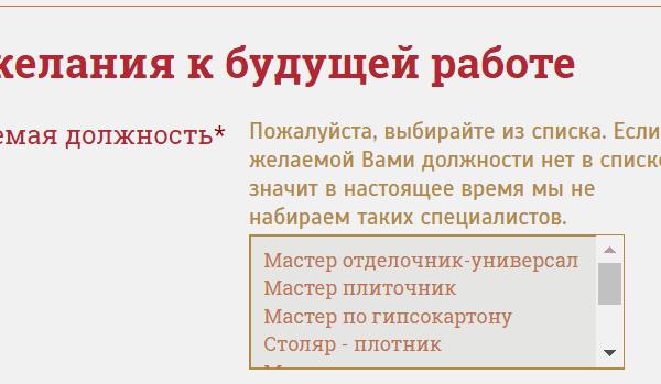 "Список вакансий компании ""Дачный мастер"""