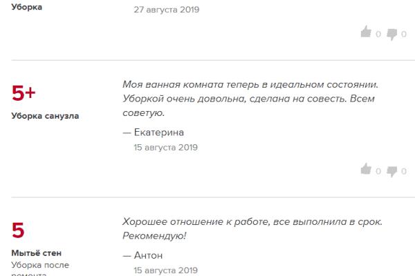 Отзывы о выполненных уборках с сайта Profi.ru