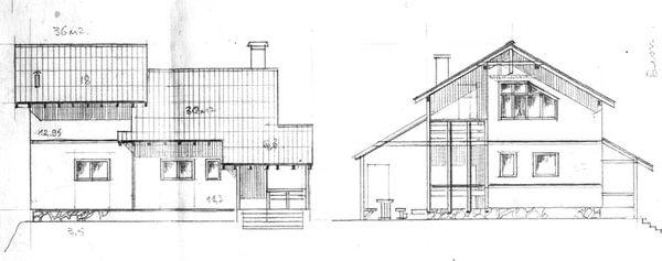Эскизы фасада и боковой стороны загородного дачного дома