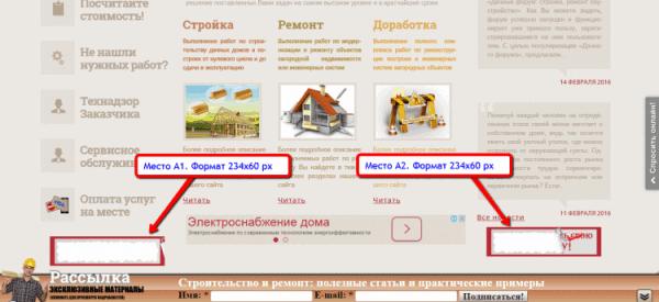 Рекламные места на главной странице сайта