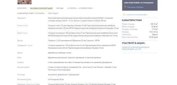 """Скриншот страницы с описанием базовой комплектации дома 8х9 м компании """"Зодчий"""""""