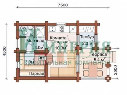 Типовая планировка бани