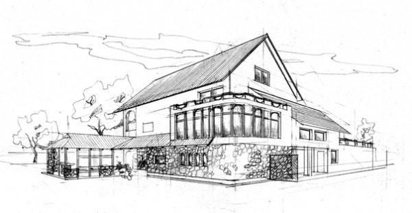 Эскиз экстерьера загородного дачного дома