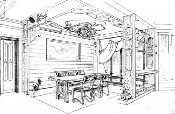 Эскиз интерьера загородного дачного дома