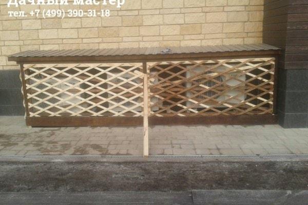 Сооружение ворот и обшивка декоративной решеткой блока кондиционеров