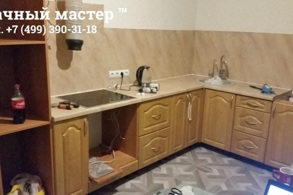 Монтаж кухонного гарнитура, после укладки ламината