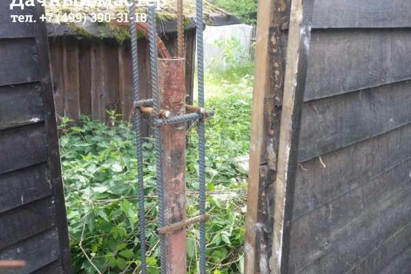 Армированный каркас заборного столба