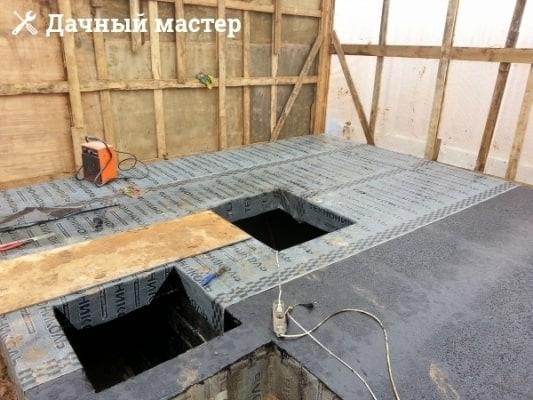 Гидроизолированное подвальное помещение хозблока