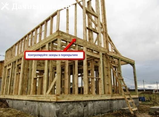 Строительство каркаса второго этажа деревянного дома