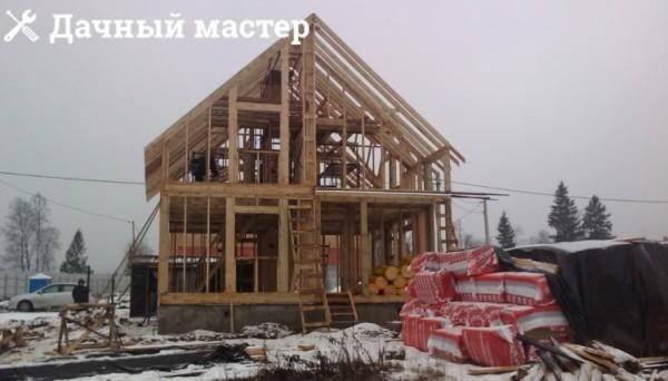 Готовый каркас деревянного дома перед обшивкой