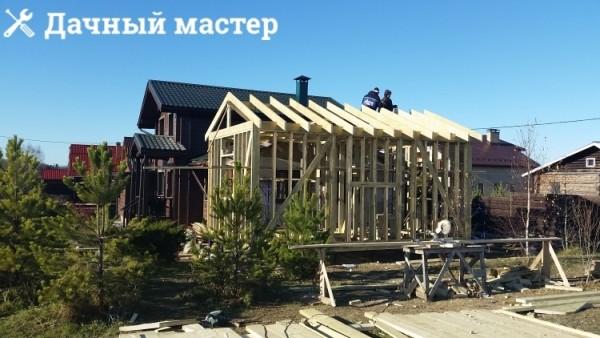 Строительство деревянного каркаса пристройки