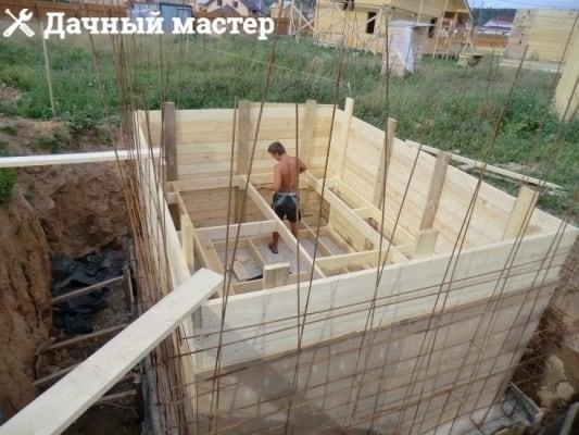 Внутренняя опалубка перед выполнением бетонных работ по заливке стен подвала