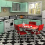Кухня в стиле ретро в интерьере загородного дома