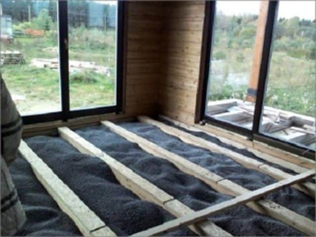 The insulation of a frame house. Loose-fill insulation materials.