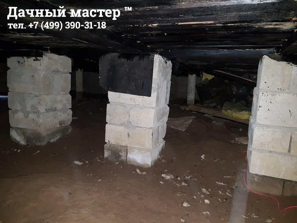 Столбчатый фундамент под лагами