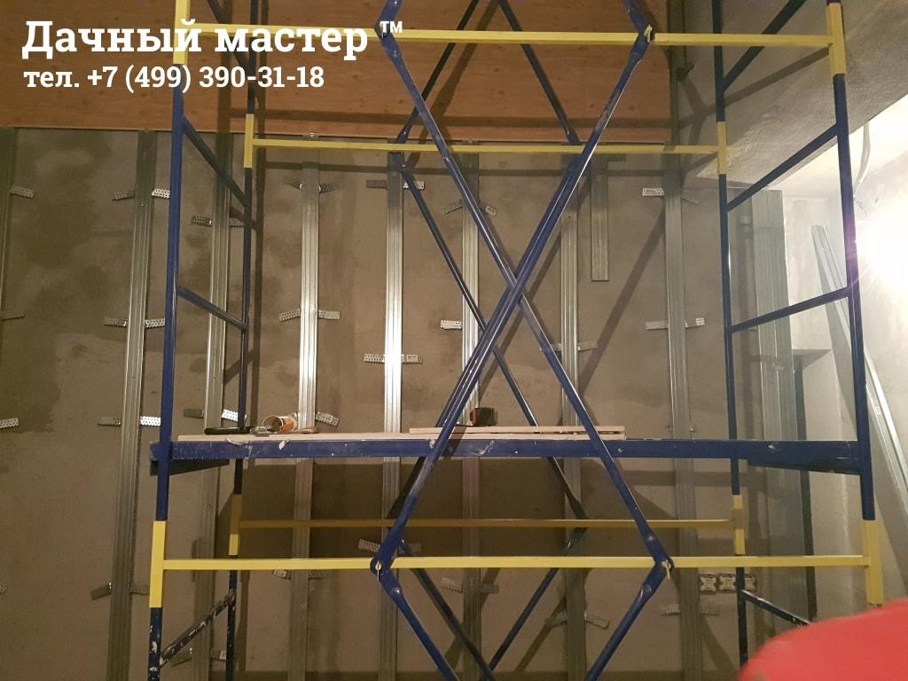Монтаж металлокаркаса и МДФ панелей в лестничной шахте
