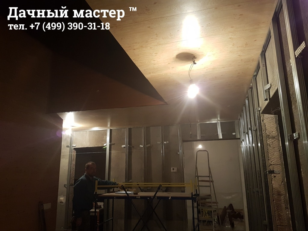 Монтаж МДФ панелей на потолке