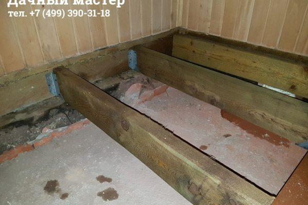 Монтаж лаг из лиственницы в бане