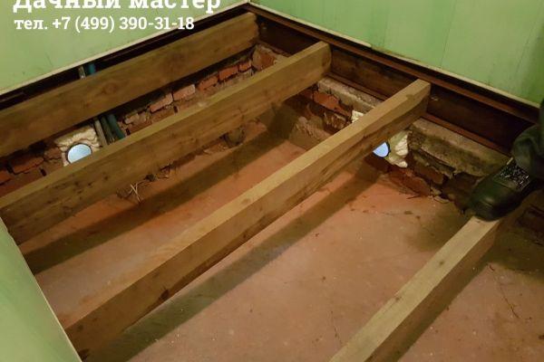 Швеллер и лаги из лиственницы в бане