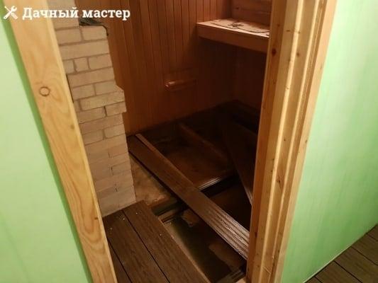 Монтаж чистового пола в бане